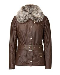 Barbour | The Ryder Brown Waxed Jacket with Fur Collar | Lyst