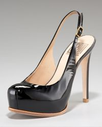 Pour La Victoire | Natural Patent Leather Slingback Pumps | Lyst