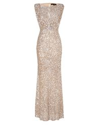 Jenny Packham | Metallic Soft Gold Sleeveless Sequin Dress | Lyst