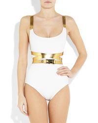Michael Kors White Metallic Wraparound Belt One-piece Swimsuit