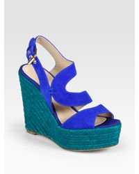 Brian Atwood | Blue Colorblock Espadrille Wedge Sandals | Lyst