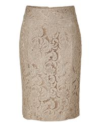 Burberry | Natural Lace Pencil Skirt | Lyst