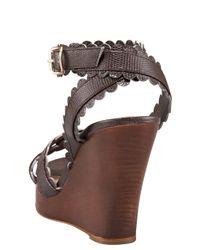 Chloé - Gray Scallop-strap Wedge Sandal - Lyst
