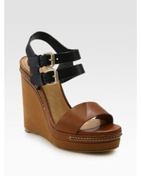 Chloé | Brown Two-tone Leather Slingback Wedge Sandals | Lyst