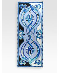 Emilio Pucci - Blue Oblong Silk Delft Print Scarf - Lyst