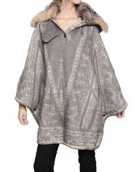 Etro | Gray Fox Collar Jaquard Alpaca Cape Coat | Lyst