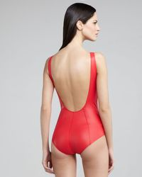 Lisa Marie Fernandez | Red Jasmine Zip-up Low-back One-piece Swimsuit | Lyst