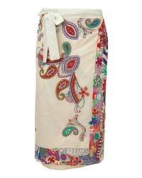 Etro - Cream Multicolor Sequin Sarong - Lyst