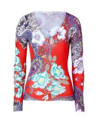 Etro | Orange Red Multicolor Flower Print Silk Pullover | Lyst