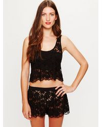 Free People | Black Daisy Embroidered Mesh Shorts | Lyst