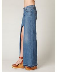 Free People | Blue Chloe Denim Maxi Slit Skirt | Lyst