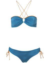 TOPSHOP | Blue Teal Slinky Bandeau Bikini | Lyst