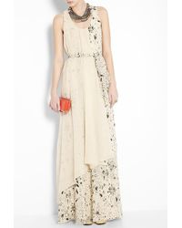 3.1 Phillip Lim | Beige Splatter Print Maxi Self Belt Gown | Lyst