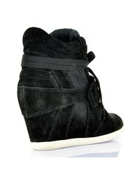 Ash - Bowie - Black Suede Wedge Sneaker - Lyst