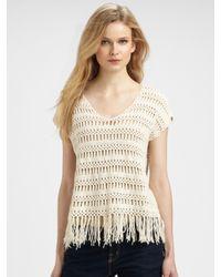Ella Moss | Natural Mohawk Crochet Fringe Top | Lyst