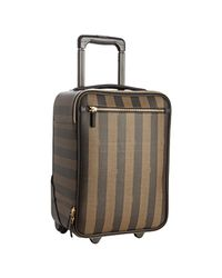 Fendi | Brown Tobacco Striped Spalmati Roll Away Carry On Luggage for Men | Lyst