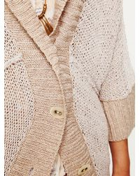 Free People | Natural Shawl Collar Cardigan | Lyst