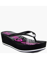 Juicy Couture | Black Wedge Rubber Flip Flop | Lyst