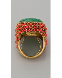 Kenneth Jay Lane Green Coral & Jade Cocktail Ring