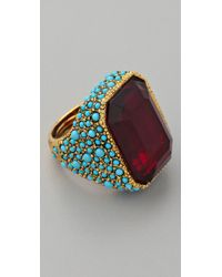 Kenneth Jay Lane | Blue Antiqued Cocktail Ring | Lyst