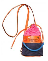 KENZO | Blue Logo Nylon with Lather Shoulder Bag | Lyst