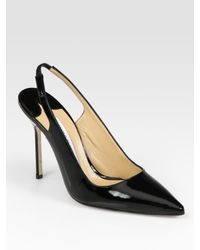 Manolo Blahnik - Black Patent Leather Point Toe Slingback Pumps - Lyst