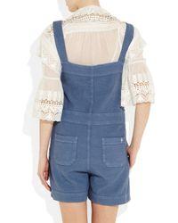 M.i.h Jeans | Blue Shortie Linen-blend Dungarees | Lyst