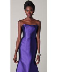 Reem Acra - Blue Strapless Silk Mermaid Gown - Lyst
