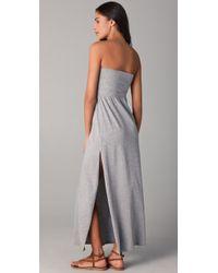 Splendid - Gray Maxi Skirt / Dress With Slit - Lyst