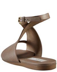Stella McCartney | Brown Ankle-wrap Flat Sandal | Lyst