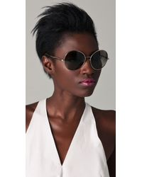 Stella McCartney | Metallic Round Oversized Sunglasses | Lyst