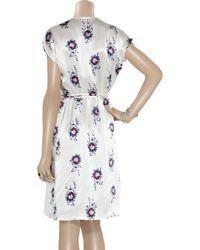 Tucker - White Printed Silk-charmeuse Wrap Dress - Lyst