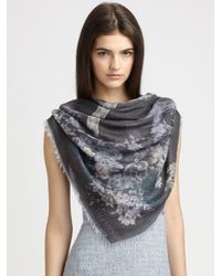 Valentino | Gray Floral & Lace Overprint Scarf | Lyst