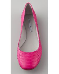 Vera Wang Lavender - Pink Lara Embossed Snake Ballet Flats - Lyst