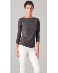 Vince | Gray Long Sleeve Boat Neck Tee | Lyst