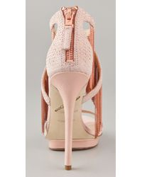 B Brian Atwood | Pink Cassiane Snake-print Leather Fringe Sandals | Lyst