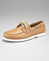 Ferragamo | Brown Boat Shoe, Camel for Men | Lyst