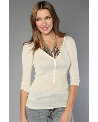 Free People | White The Lurex Pointelle Henley Top | Lyst