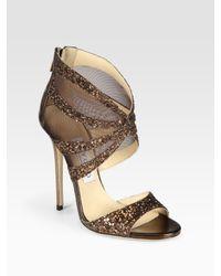 Jimmy Choo | Leila Glitter-coated Metallic Leather and Mesh Sandals | Lyst