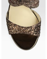 Jimmy Choo - Leila Glitter-coated Metallic Leather and Mesh Sandals - Lyst