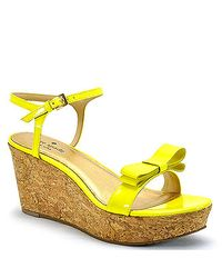 kate spade new york | Yellow Patent Bow Cork Wedge Sandal | Lyst