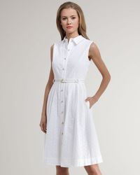 kate spade new york - White Raquel Cotton Eyelet Shirt Dress - Lyst