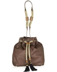 Lanvin | Brown Gaby Leather Bucket Bag | Lyst