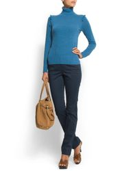 Mango - Blue Straight Leg Low-waist Trousers - Lyst