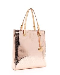 Michael Kors | Metallic Jet Set Monogram North South Item Tote, Rose Gold | Lyst