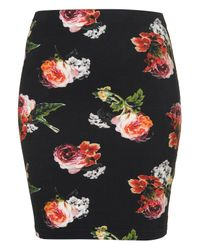 TOPSHOP | Black Floral Bodycon Skirt | Lyst