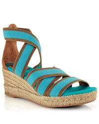 Tory Burch | Blue Bridee - Turquoise Canvas Espadrille Wedge Sandal | Lyst