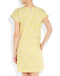 Vanessa Bruno Athé - Yellow Printed Bourette Silk Dress - Lyst