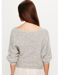 Free People | Gray Horizontal Rib Cropped Marled Sweater | Lyst