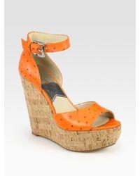 MICHAEL Michael Kors - Orange Ariana Ostrich-effect Leather Wedge Sandals - Lyst